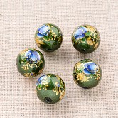 Flower Picture Printed Glass Round Beads, Green, 12mm, Hole: 1mm
