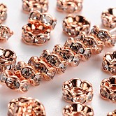 Brass Rhinestone Spacer Beads, Grade AAA, Wavy Edge, Nickel Free, Rose Gold Metal Color, Rondelle, Crystal, 6x3mm, Hole: 1mm