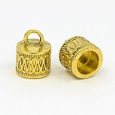 Tibetan Style Cord Ends, Column, Antique Golden, Lead Free and Cadmium Free and Nickel Free; 14.5x11mm, Hole: 4mm; Inner Diameter: 7.5mm
