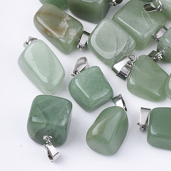 Natural Green Aventurine Pendants, with Stainless Steel Snap On Bails, Nuggets, 15~35x10~20x5~15mm, Hole: 3x7.5mm