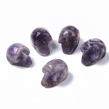 Хэллоуин натуральный аметист бусины, нет отверстий / незавершенного, череп, 18~20x16.5~18x24~25 мм