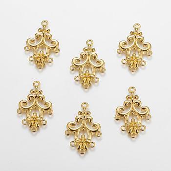 Connecteurs chandeliers en alliage, connecteur en métal pour la fabrication de bijoux bricolage, sans plomb et sans cadmium, fleur, or, longueur d'environ 35 mm ,  largeur de 24 mm, épaisseur de 2mm, Trou: 1.5mm