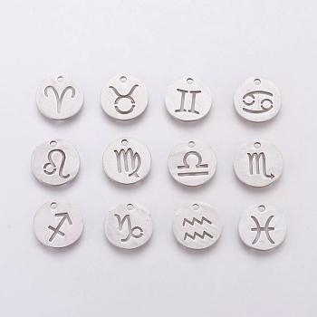 304 charms in acciaio inox, per la creazione di gioielli fai da te, round piatto con costellazione / segno zodiacale, colore acciaio inossidabile, 12x1mm, Foro: 1 mm, 12 pc / set