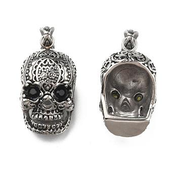 Ретро мужские украшения на Хэллоуин 316 хирургические подвески из нержавеющей стали с большим черепом, со стразами, античное серебро, 50x23x26 мм, отверстие : 9x5 мм