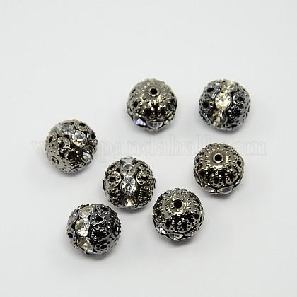 Abalorios de Diamante de imitación de latónRB-A011-12mm-01B-1