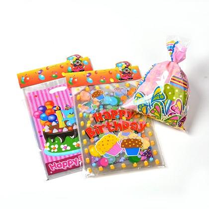 Imprimés sacs matériel de PE rectangle de plastique mixtes pour la fête d'anniversaireAJEW-J029-15-1