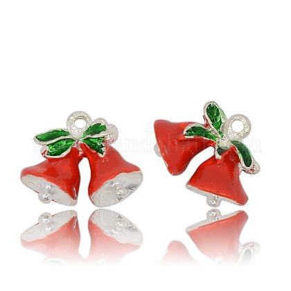 Colgantes de campana de navidad de esmalte de aleación plateado color plataENAM-J201-03S-1