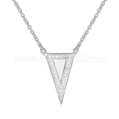 TINYSAND® Fashion 925 Sterling Silver CZ Diamond Triangle Pendant Necklaces TS-N216-S-1