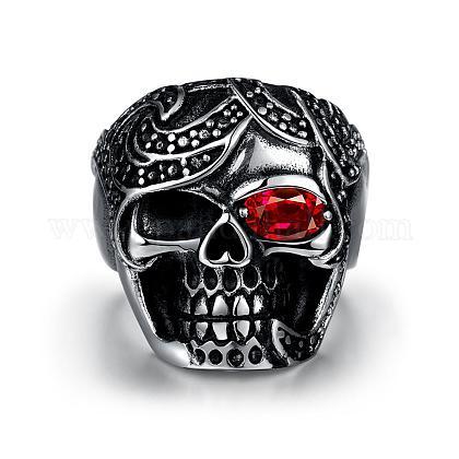 Punk Skull Stainless Steel Cubic Zirconia Rings for MenRJEW-BB03816-11-1