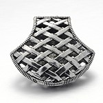 Tibetan Style Braided Alloy Pendants, Hollow Fan, Antique Silver, 38x45x12mm, Hole: 8mm