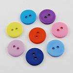 Акриловые кнопки рубашки, 2-луночное, окрашенные, плоско-круглые, разноцветные, 15x1.5 мм, отверстие : 2 мм