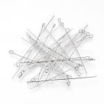 304 Stainless Steel Eye Pin, Stainless Steel Color, 50mm; Pin: 0.7mm; Hole: 2mm