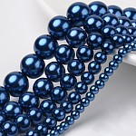 Dyed Glass Pearl Round Beads Strands, MarineBlue, 4mm/6mm/8mm/10mm/12mm, Hole: 1mm; about 70~216pcs/strand