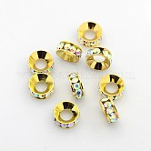 Grade A Brass Rhinestone Spacer Beads, Basketball Wives Spacer Beads for Jewelry Making, Rondelle, Golden, Clear, 10x4mm, Hole: 5.5mm