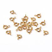 Золотые компоненты тон ювелирные изделия латунь кольцо весной пряжки, 6 мм, отверстие : 1.5 мм
