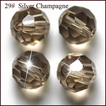 Gray Imitation Austrian Crystal Beads, Grade AAA, Faceted, Round, Gray, 4mm, Hole: 0.7~0.9mm