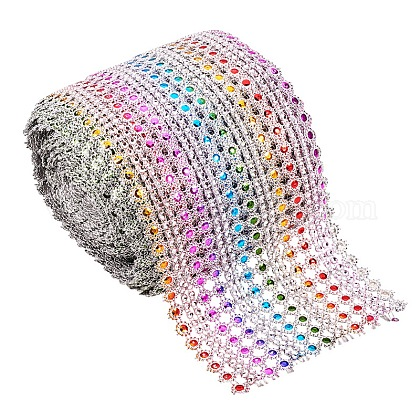 16 rangée en plastique diamant maille rouleau rouleau strass décoration de mariage de rubanOCOR-WH0031-B01-1