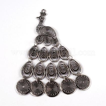 Peacock Tibetan Style Alloy Big Pendant Rhinestone Settings PALLOY-ZN60532-AS-NR-1