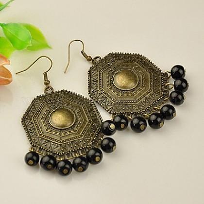 Tibetan Style Chandelier EarringsEJEW-JE00522-08-1