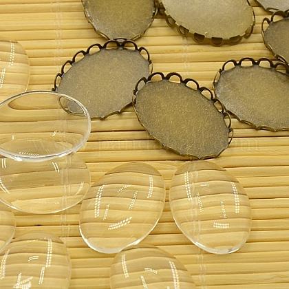Anciennes supports laiton bronze pour cabochon et cabochons en verre ovales claires et transparentes pour la fabrication de bijoux bricolageKK-MSMC015-14-1
