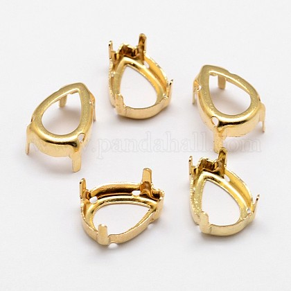 Flat Teardrop Brass Rhinestone Claw SettingsKK-N0084-02G-13x18-1