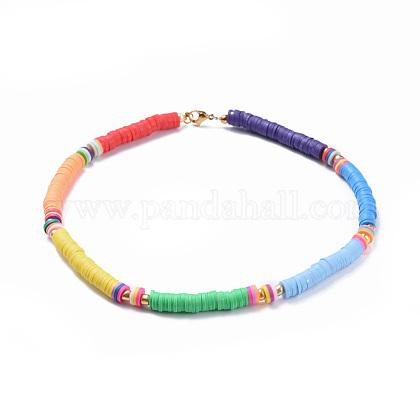 Colliers de foulard en perles de polymère faites main en pâte polymèreNJEW-JN02447-1