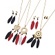 304 Stainless Steel Enamel Stud Earrings & Pendant Necklaces Jewelry Sets SJEW-L134-04G-1