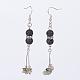 Chip Natural Mixed Stone Beads Dangle Earrings EJEW-JE02762-2