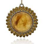 Antiguos de cristal de murano aleación de plata colgantes grandes, con rhinestone de topacio, plano y redondo, vara de oro, 68x64x12mm, agujero: 4 mm