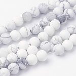 Natural Howlite Bead Strands, Round, Frosted, 8~8.5mm, Hole: 1mm; about 45~47pcs/strand, 14.9''(38cm)