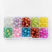 Spray Painted Transparent Crackle Glass Beads Strands, Round, Mixed Color, 8mm, Hole: 1.3mm; about 18~22pcs/compartment, 180~220pcs/box