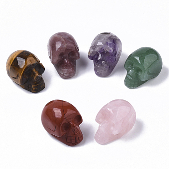 Хэллоуин бусины из натуральных драгоценных камней, нет отверстий / незавершенного, череп, 18~20x16.5~18x24~25 мм