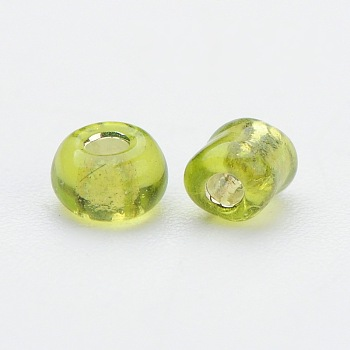 YellowGreen 8/0 Glass Seed Beads, Silver Lined Round Hole, Round, YellowGreen, 3mm, Hole: 1mm; about 10000 beads/pound