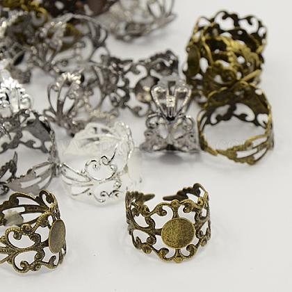 Mangos de anillo de filigrana de latón de color mixtoKK-H063-M-1
