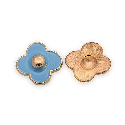 Rose Gold Plated Alloy Enamel Flower CabochonsENAM-J450-08RG-1