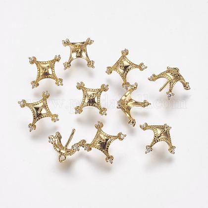 Brass Cubic Zirconia Peg Bails PendantsKK-P075-35-1