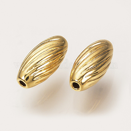 Brass Corrugated BeadsX-KK-Q735-281G-1