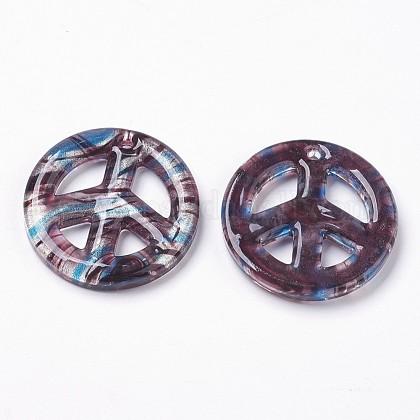 Ручной серебряная фольга стеклянные большие кулоныX-FOIL-SLNE046-6-1