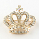 Crown Women's Light Gold Plated Alloy Rhinestone Brooches X-JEWB-R011-13-1