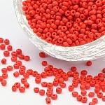 Abalorios de la semilla de cristal, colores opacos semilla, redondo, rojo, tamaño: aproximamente 2 mm de diámetro, agujero: 1 mm, aproximamente 30000 unidades / libra