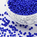 Abalorios de la semilla de cristal, colores opacos semilla, redondo, azul, tamaño: aproximamente 2 mm de diámetro, agujero: 1 mm, aproximamente 30000 unidades / libra