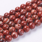 Natural Red Jasper Beads Strands, Faceted, Round, FireBrick, 10mm, Hole: 1mm; about 38pcs/strand, 15.75