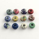 Los abalorios europeos de la piedra preciosa sintética, abalorios con grande agujero, teñido, color mezclado, 14x7mm, agujero: 5 mm