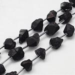 Electroplated Natural Amethyst Bead Strands, Nuggets, Black Plated, 5~16x6~13x6~13mm, Hole: 2mm; about 25pcs/strand, 15.7