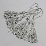 Polyester Tassel Decorations, Pendant Decorations, Silver, 130x6mm; Tassel: 80mm