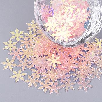Accesorios del ornamento, paillette plástico pvc / cuentas de lentejuelas, sin agujero / perlas sin perforar, Navidad copo de nieve, rosa, 9.5x8x0.4 mm; aproximamente 800 unidades / bolsa