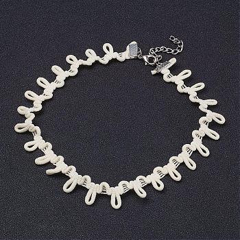 Colliers de tour de cou gothique en tissu, avec accessoire en fer, platine, blanc crème, 11.4 pouces (29 cm)