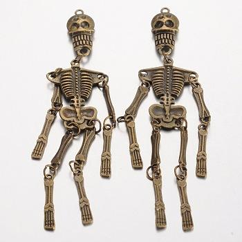 Человеческий скелет тибетского стиля сплава большие подвески, без свинца, без никеля и без кадмия, античная бронза, 99x22x5 мм, отверстие : 1.7 мм