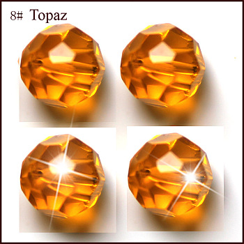 Orange Imitation Austrian Crystal Beads, Grade AAA, Faceted, Round, Orange, 4mm, Hole: 0.7~0.9mm