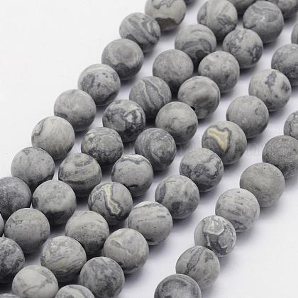 Natural Map Stone/Picasso Stone/Picasso Jasper Beads StrandsG-F518-16-8mm-1
